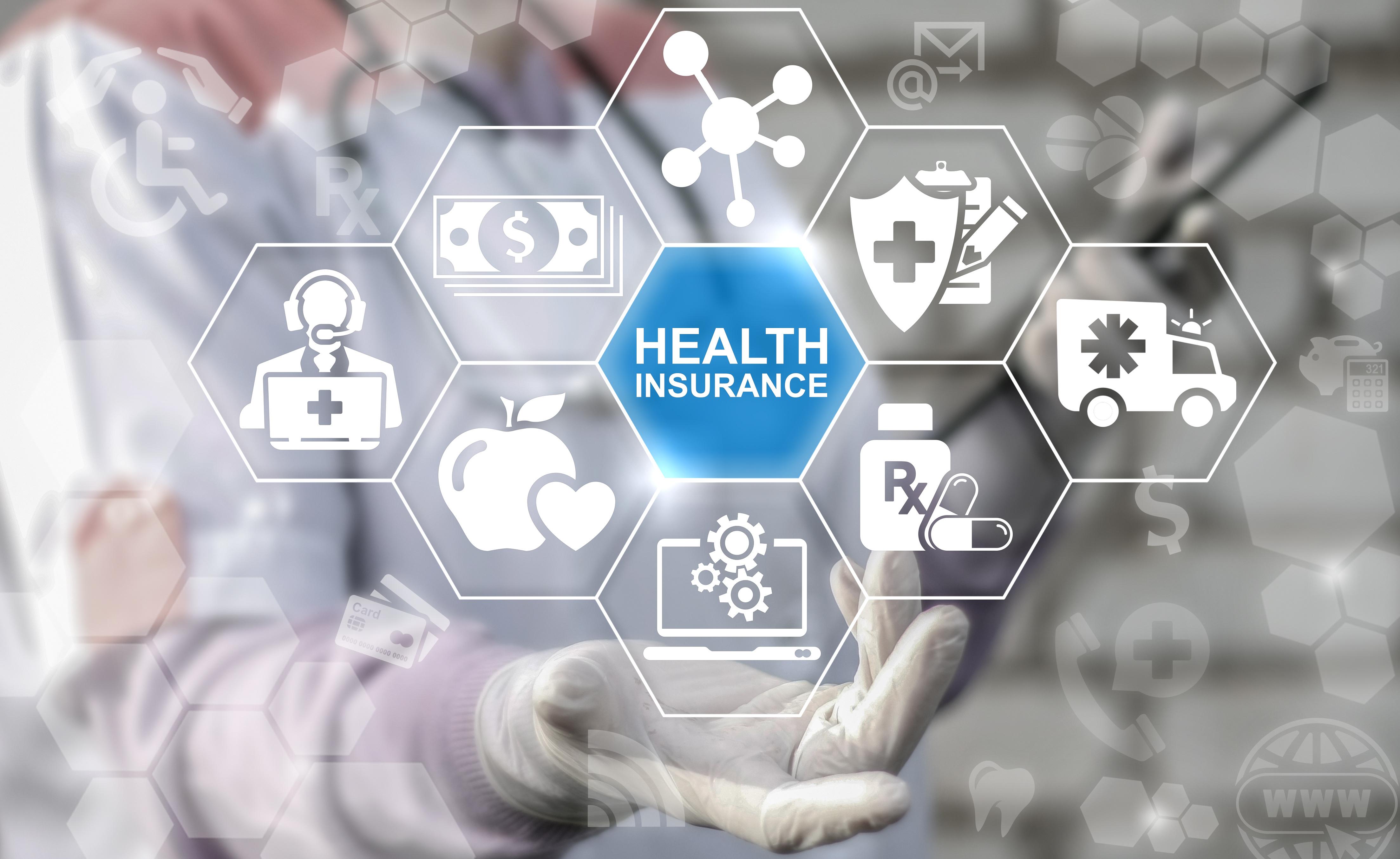 Health insurance medicine safety finance treatment computer concept. Healthcare medical assurance help money premium healthy web technology.